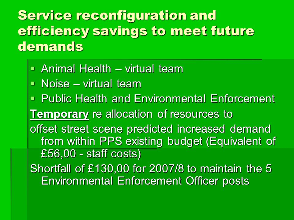 Service reconfiguration and efficiency savings to meet future demands  Animal Health – virtual team  Noise – virtual team  Public Health and Enviro
