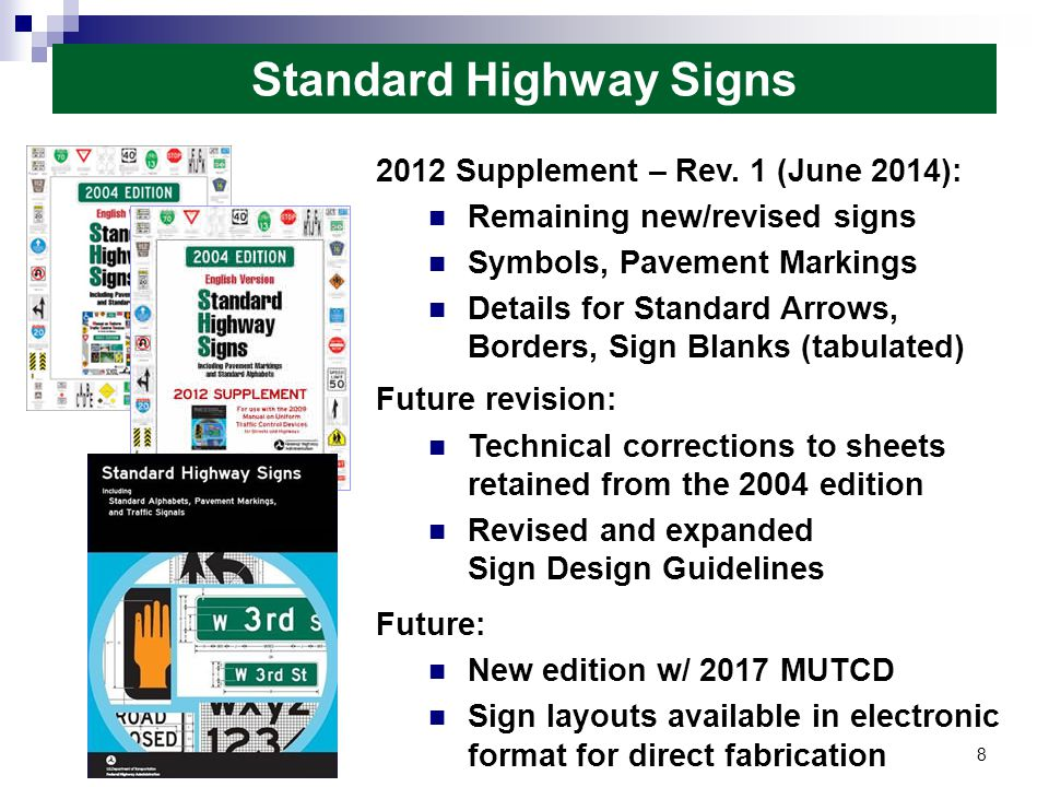 Major items addressed include the following: Acknowledgment of sponsorship of rest areas; Display of sponsors on changeable message signs; Sizes of acknowledgment signs or plaques and sponsor logos (both on highways and on shared-use paths); Naming rights ; and Official sponsor logos, business names, and promotional advertising.