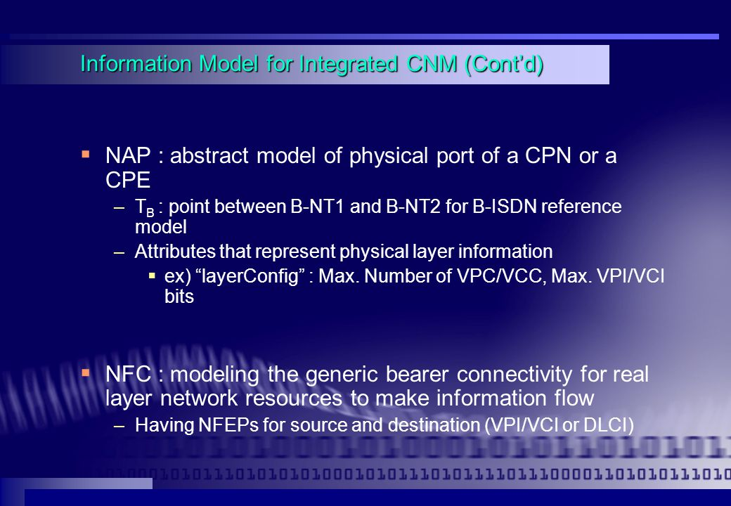 Information Model for Integrated CNM (Cont'd)  NAP : abstract model of physical port of a CPN or a CPE –T B : point between B-NT1 and B-NT2 for B-ISDN reference model –Attributes that represent physical layer information  ex) layerConfig : Max.