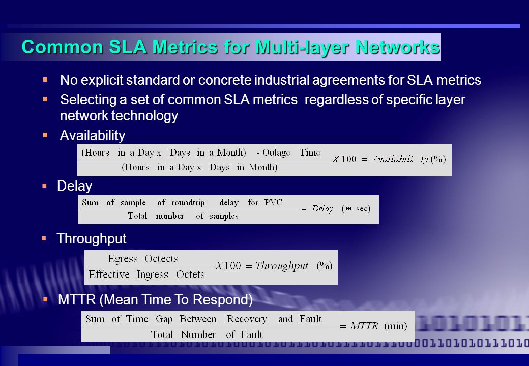 Common SLA Metrics for Multi-layer Networks  No explicit standard or concrete industrial agreements for SLA metrics  Selecting a set of common SLA metrics regardless of specific layer network technology  Availability  Delay  Throughput  MTTR (Mean Time To Respond)