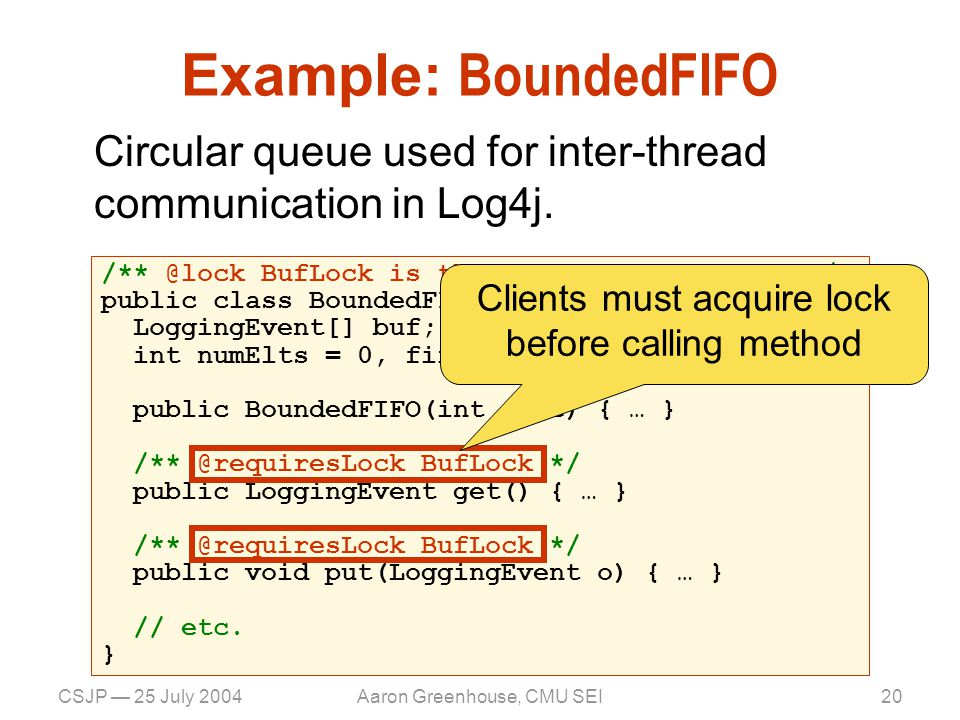 CSJP — 25 July 2004Aaron Greenhouse, CMU SEI20 Example: BoundedFIFO Circular queue used for inter-thread communication in Log4j.