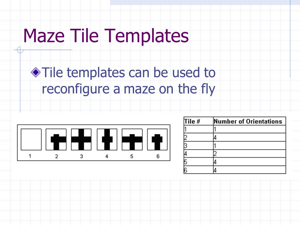 Maze Tile Templates Tile templates can be used to reconfigure a maze on the fly