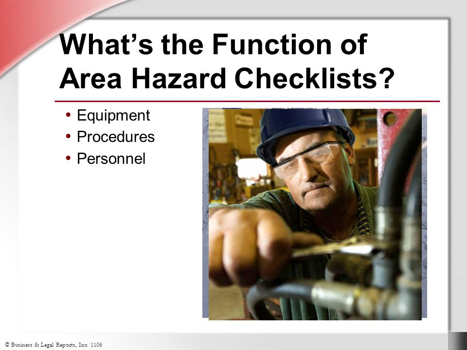 What's the Function of Area Hazard Checklists Equipment Procedures Personnel
