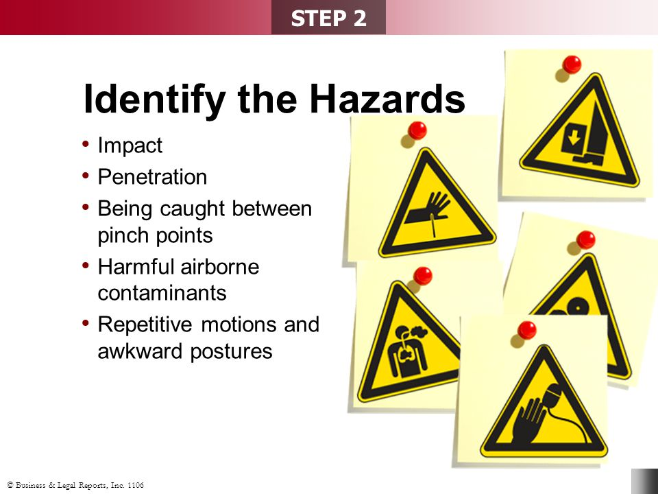 Impact Penetration Being caught between pinch points Harmful airborne contaminants Repetitive motions and awkward postures STEP 2 Identify the Hazards