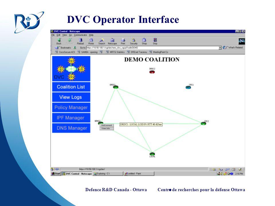 Defence R&D Canada - Ottawa Centre de recherches pour la défense Ottawa DVC Operator Interface