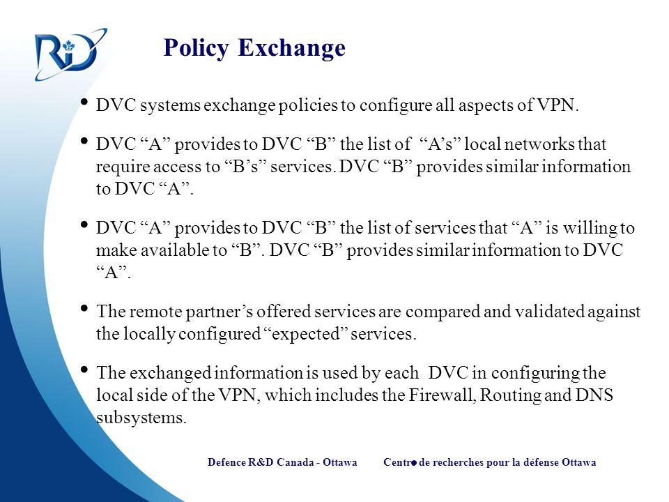 Defence R&D Canada - Ottawa Centre de recherches pour la défense Ottawa Policy Exchange DVC systems exchange policies to configure all aspects of VPN.