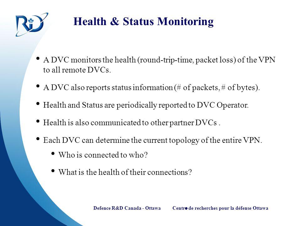 Defence R&D Canada - Ottawa Centre de recherches pour la défense Ottawa Health & Status Monitoring A DVC monitors the health (round-trip-time, packet