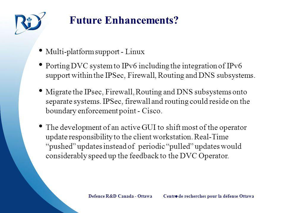 Defence R&D Canada - Ottawa Centre de recherches pour la défense Ottawa Future Enhancements? Multi-platform support - Linux Porting DVC system to IPv6