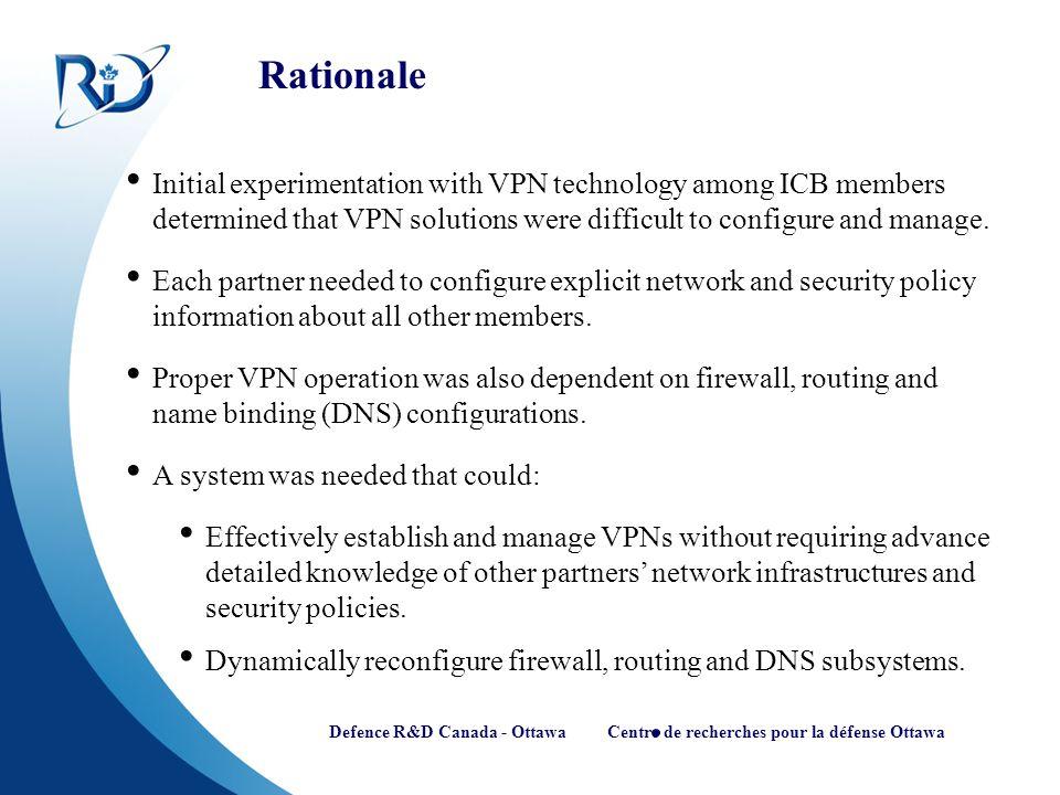 Defence R&D Canada - Ottawa Centre de recherches pour la défense Ottawa Rationale Initial experimentation with VPN technology among ICB members determ