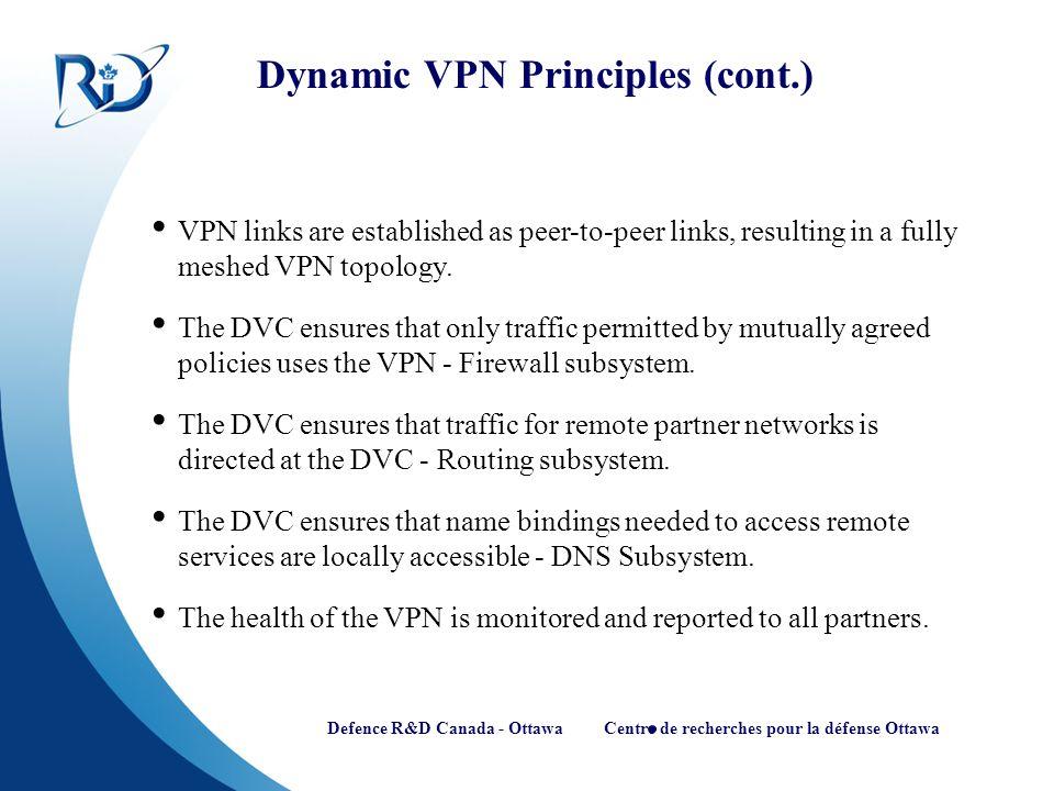 Defence R&D Canada - Ottawa Centre de recherches pour la défense Ottawa Dynamic VPN Principles (cont.) VPN links are established as peer-to-peer links