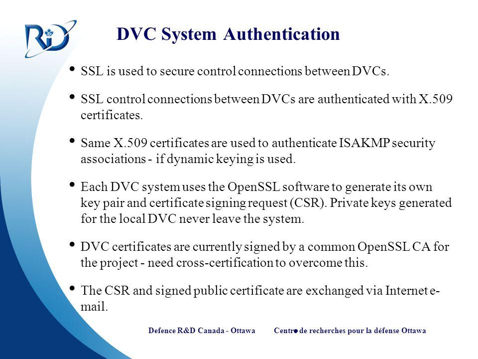 Defence R&D Canada - Ottawa Centre de recherches pour la défense Ottawa DVC System Authentication SSL is used to secure control connections between DV