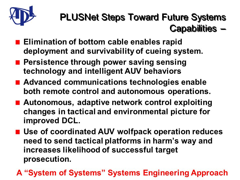 PLUSNet Steps Toward Future Systems Capabilities – Elimination of bottom cable enables rapid deployment and survivability of cueing system. Persistenc