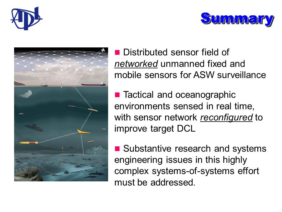 SummarySummary Distributed sensor field of networked unmanned fixed and mobile sensors for ASW surveillance Tactical and oceanographic environments se