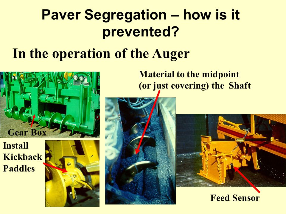 In the operation of the Auger Feed Sensor Gear Box Material to the midpoint (or just covering) the Shaft Install Kickback Paddles Paver Segregation –
