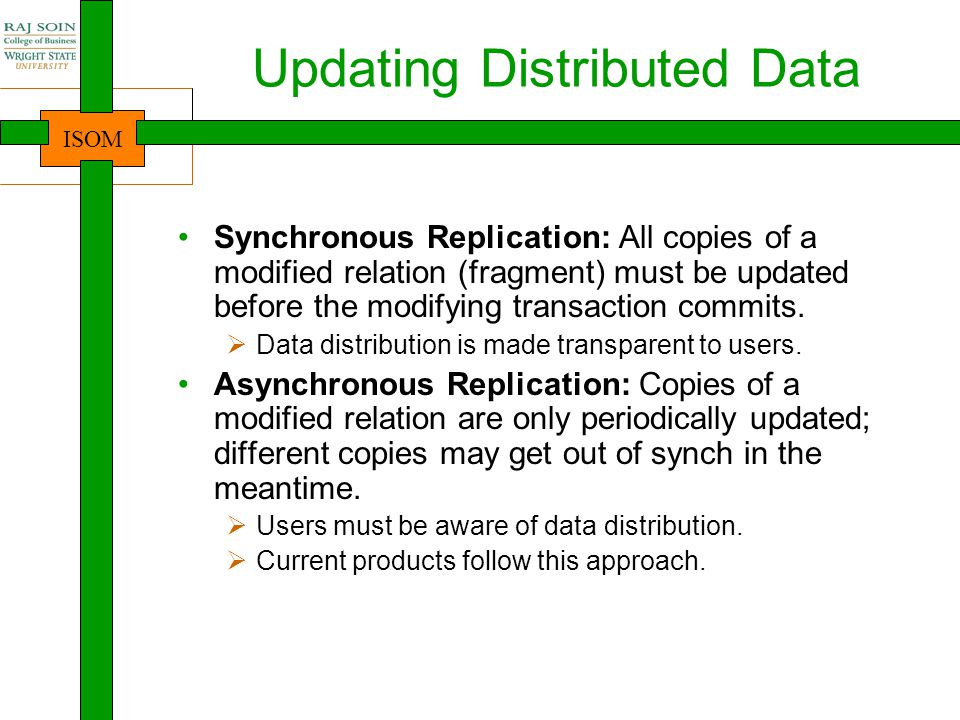 ISOM Updating Distributed Data Synchronous Replication: All copies of a modified relation (fragment) must be updated before the modifying transaction commits.