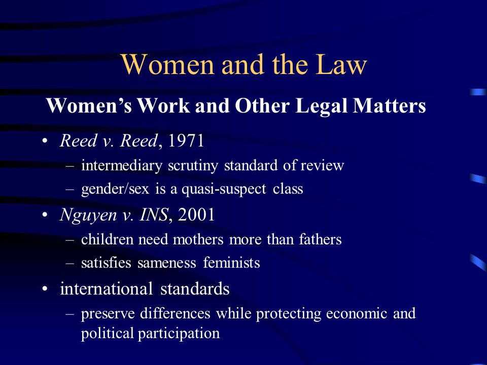 Women and the Law Reed v.