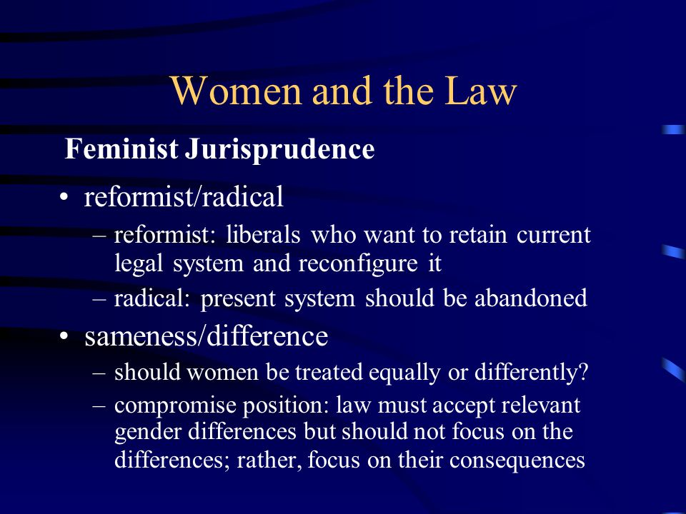 Women and the Law more women applying for law school now than before gendered experiences: –men expect to work in a law firm or for a company –more likely to submit to law review –women expect to work for nonprofit or legal services –feel less confident in their legal skills female law professors are underrepresented presidents more willing to appoint women to federal judgeships Women's Representation in the Legal System