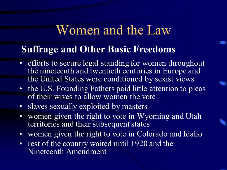 Women and the Law exclusionary underpinnings were the beliefs that feminine characteristics are not suited for the practice of law and that a woman's place is in the home women viewed as lacking logical capacity accused of being overly subjective and emotional women were not full citizens, and so it would be paradoxical for them to practice law Women's Work in Law (cont.)