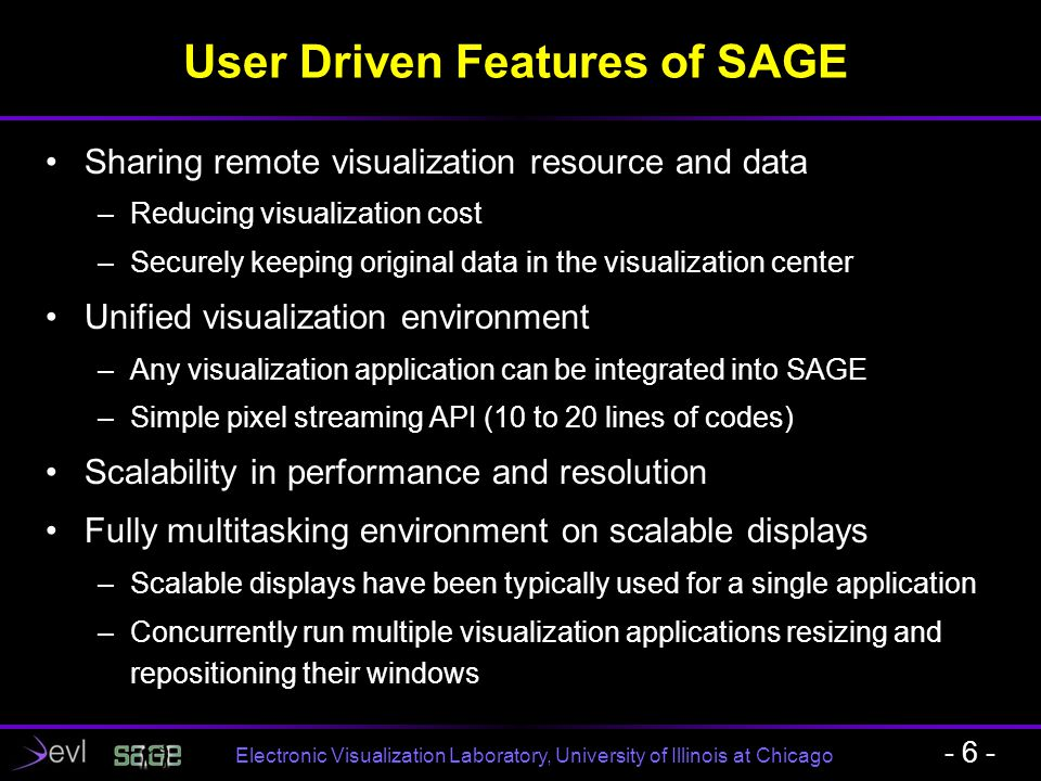 Electronic Visualization Laboratory, University of Illinois at Chicago SAGE Bridge - 17 - A new software component of SAGE Broadcasts pixel data to the endpoints Running on a high- performance PC cluster Placed at core hubs in the network