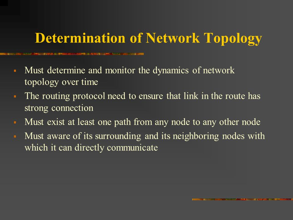 Determination of Network Topology  Must determine and monitor the dynamics of network topology over time  The routing protocol need to ensure that l