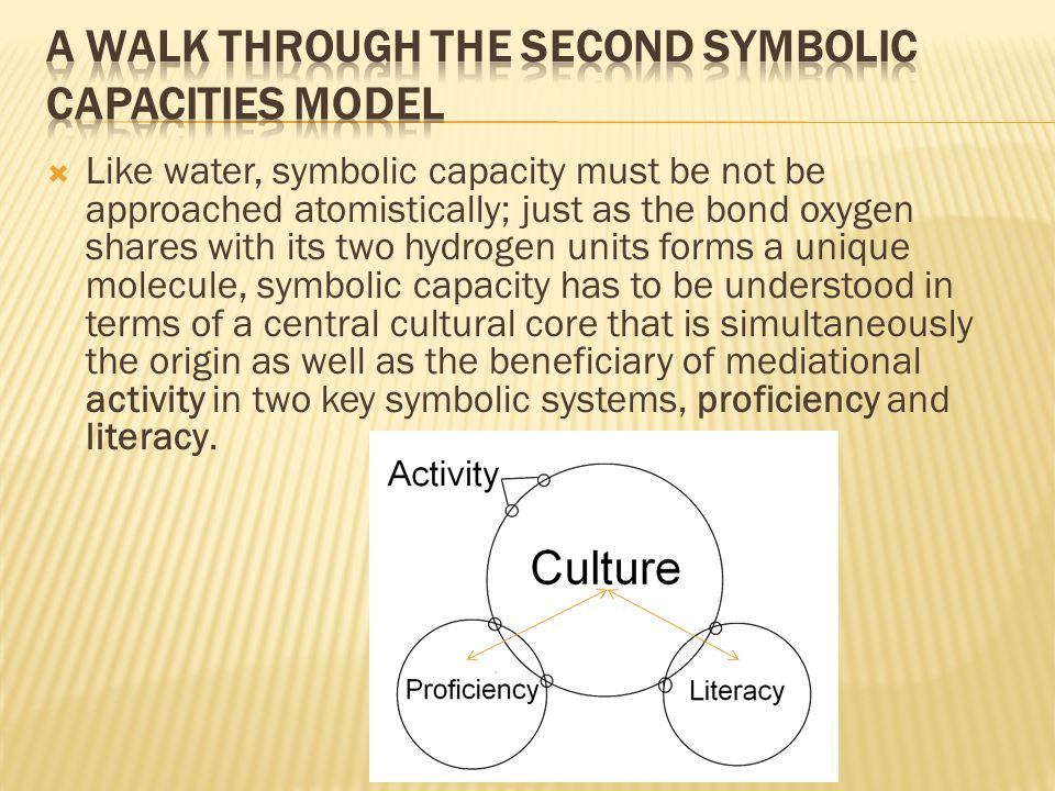  Like water, symbolic capacity must be not be approached atomistically; just as the bond oxygen shares with its two hydrogen units forms a unique molecule, symbolic capacity has to be understood in terms of a central cultural core that is simultaneously the origin as well as the beneficiary of mediational activity in two key symbolic systems, proficiency and literacy.