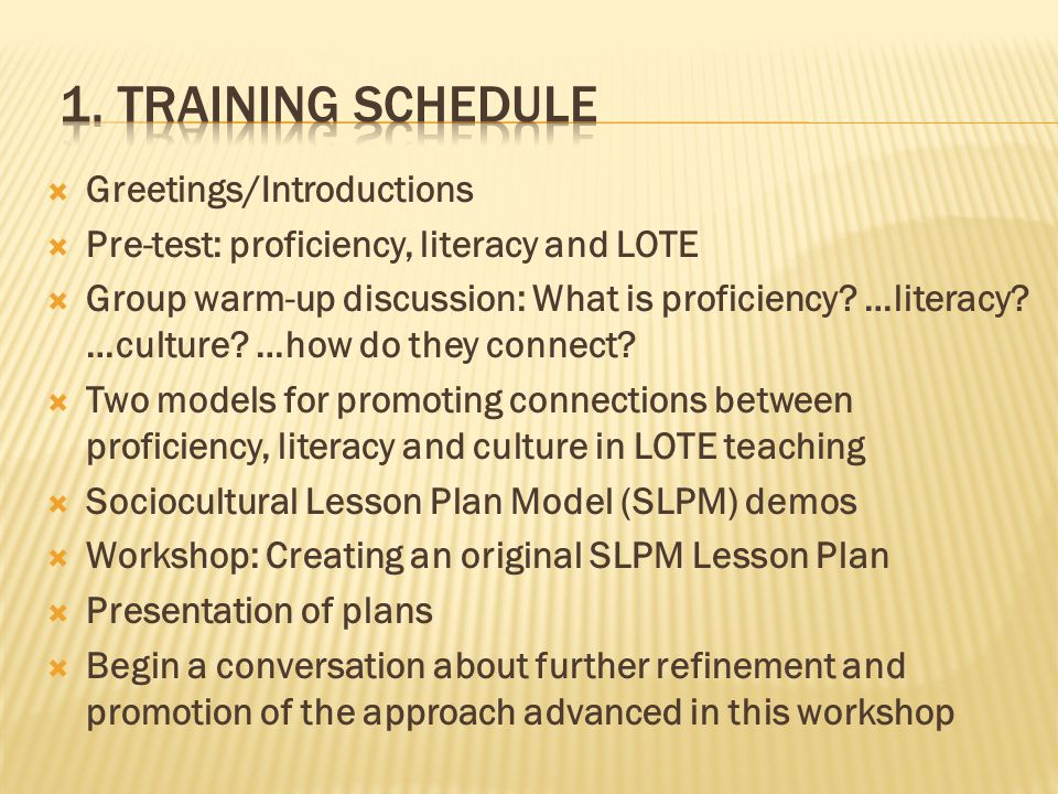  Greetings/Introductions  Pre-test: proficiency, literacy and LOTE  Group warm-up discussion: What is proficiency.