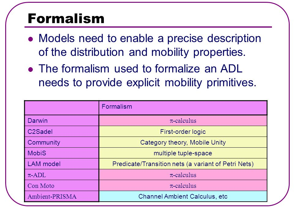 Formalism Models need to enable a precise description of the distribution and mobility properties.