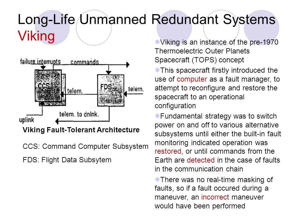 Long-Life Unmanned Redundant Systems Viking Viking is an instance of the pre-1970 Thermoelectric Outer Planets Spacecraft (TOPS) concept This spacecra
