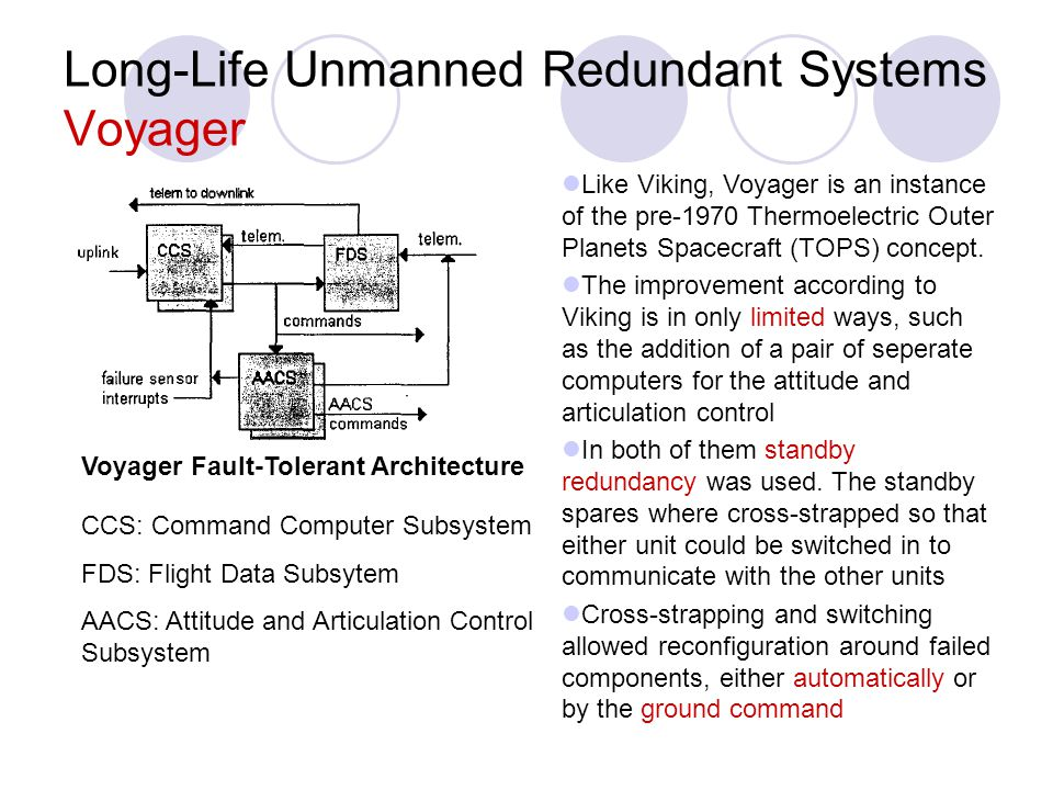 Long-Life Unmanned Redundant Systems Voyager Like Viking, Voyager is an instance of the pre-1970 Thermoelectric Outer Planets Spacecraft (TOPS) concep