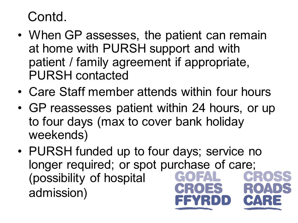 When GP assesses, the patient can remain at home with PURSH support and with patient / family agreement if appropriate, PURSH contacted Care Staff member attends within four hours GP reassesses patient within 24 hours, or up to four days (max to cover bank holiday weekends) PURSH funded up to four days; service no longer required; or spot purchase of care; (possibility of hospital admission) Contd.