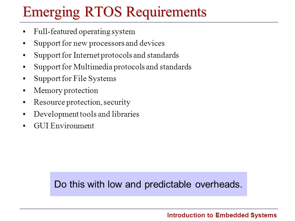 Introduction to Embedded Systems Carnegie Mellon Emerging RTOS Requirements Full-featured operating system Support for new processors and devices Supp