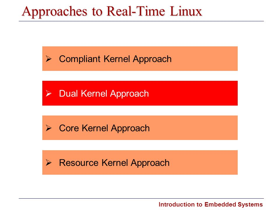 Introduction to Embedded Systems Carnegie Mellon Approaches to Real-Time Linux  Dual Kernel Approach  Compliant Kernel Approach  Core Kernel Approa