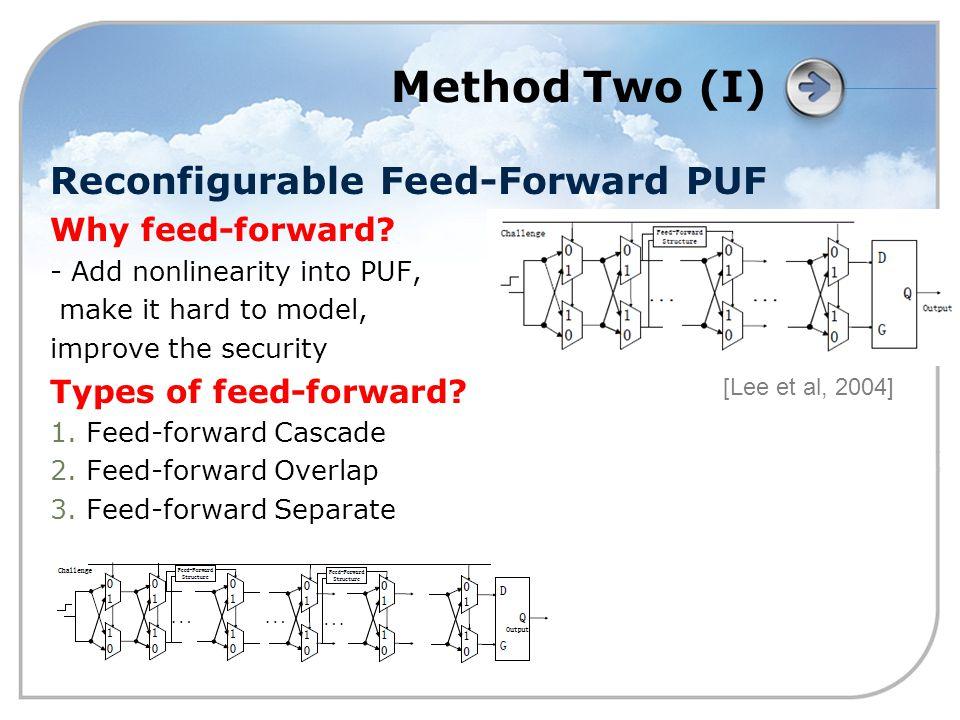 Method Two (I) Reconfigurable Feed-Forward PUF Why feed-forward.