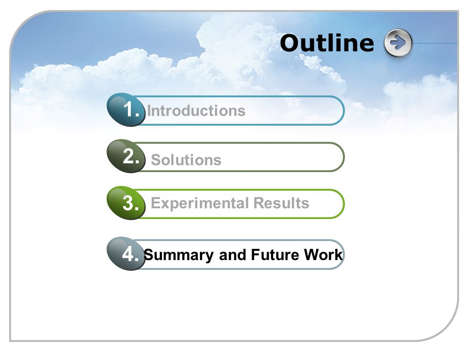 Outline Summary and Future Work 4. Experimental Results 3. Solutions 2. Introductions 1.