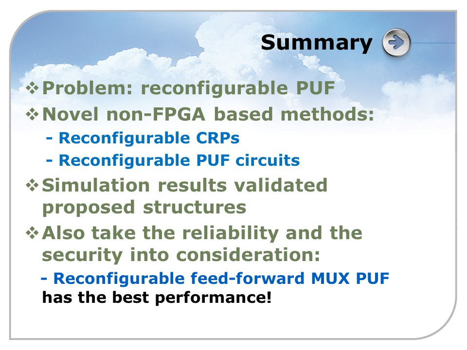 Summary  Problem: reconfigurable PUF  Novel non-FPGA based methods: - Reconfigurable CRPs - Reconfigurable PUF circuits  Simulation results validated proposed structures  Also take the reliability and the security into consideration: - Reconfigurable feed-forward MUX PUF has the best performance!