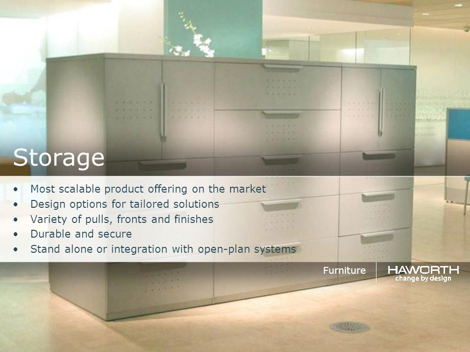 Storage Most scalable product offering on the market Design options for tailored solutions Variety of pulls, fronts and finishes Durable and secure St