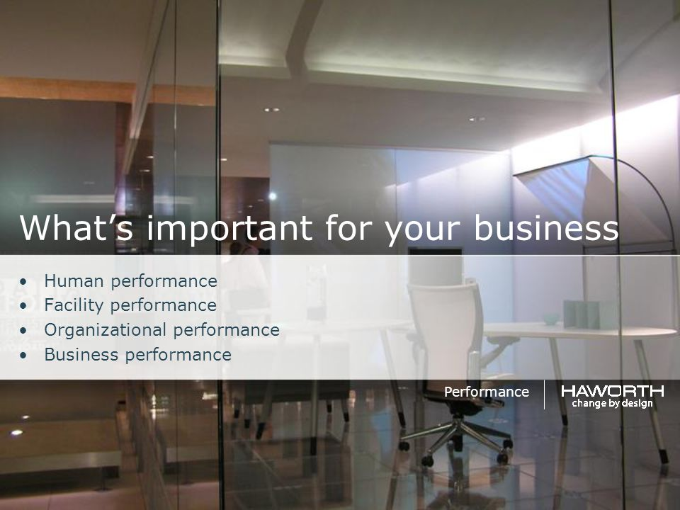 What's important for your business Human performance Facility performance Organizational performance Business performance Performance