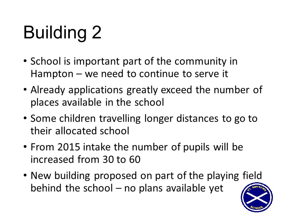 Option 5 – join Prince Henry's MAT Governors favour this option Local circumstances recognised Long experience of informal collaboration over years We have taken the first steps Still much detail to be agreed Need permission from Diocese as well as other approvals Setting up various structures – responsibilities of Trust and 'Governors' PH also have experience of building projects