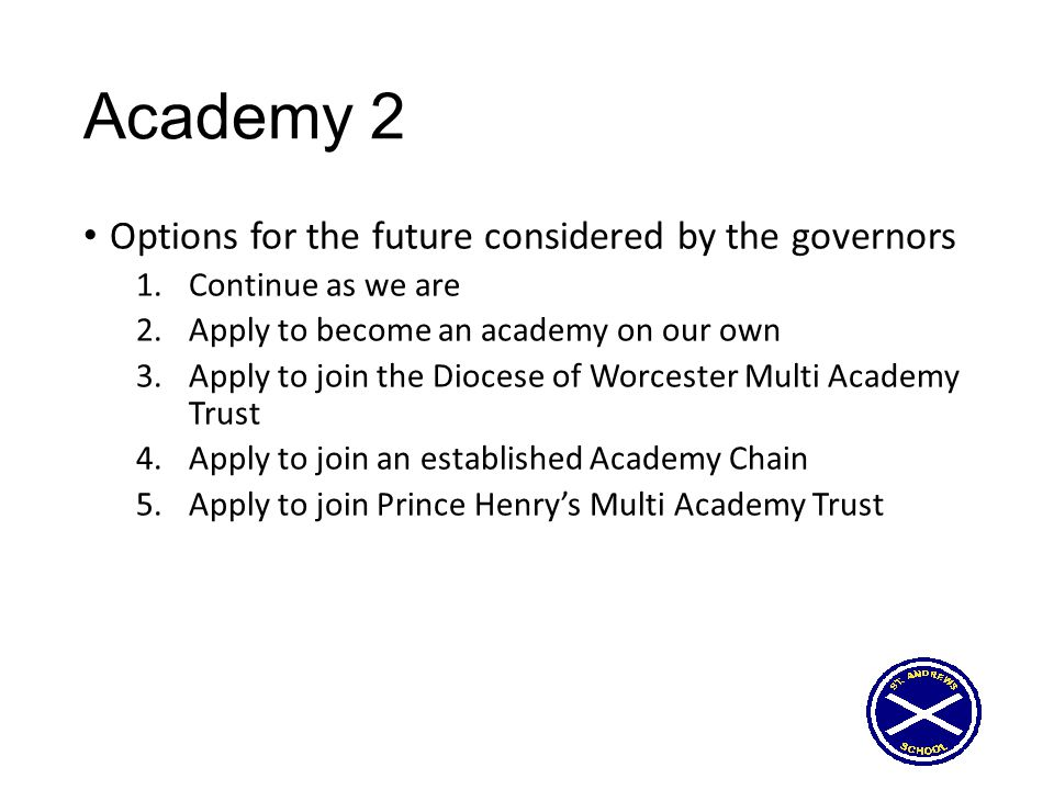 Academy 2 Options for the future considered by the governors 1.Continue as we are 2.Apply to become an academy on our own 3.Apply to join the Diocese