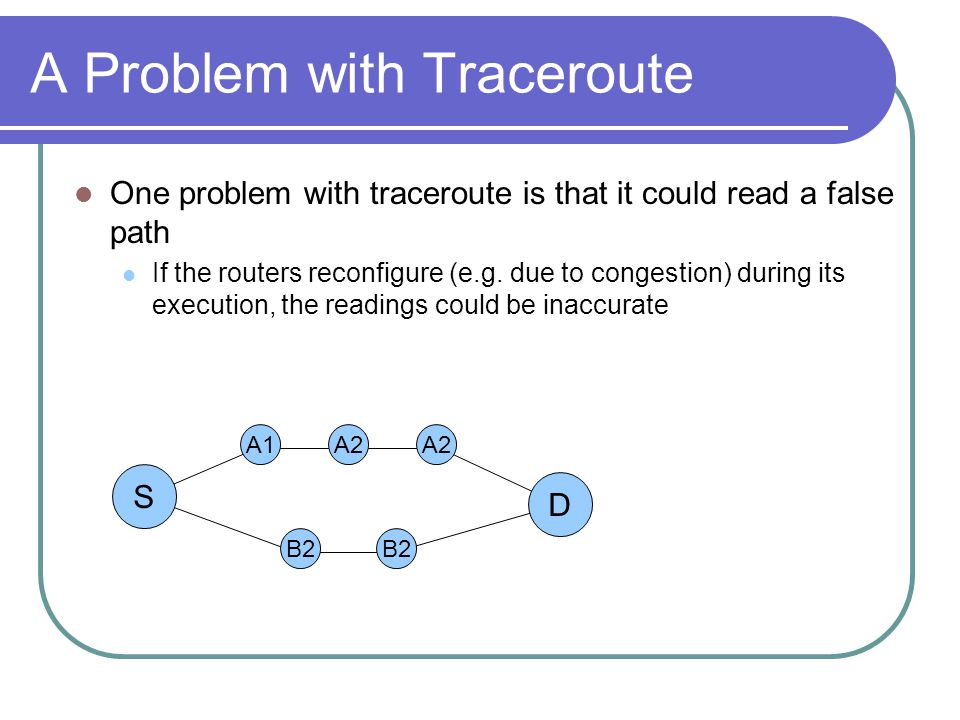 A Problem with Traceroute One problem with traceroute is that it could read a false path If the routers reconfigure (e.g.