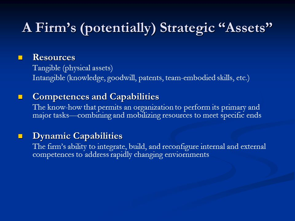 A Firm's (potentially) Strategic Assets Resources Resources Tangible (physical assets) Intangible (knowledge, goodwill, patents, team-embodied skills, etc.) Competences and Capabilities Competences and Capabilities The know-how that permits an organization to perform its primary and major tasks—combining and mobilizing resources to meet specific ends Dynamic Capabilities Dynamic Capabilities The firm's ability to integrate, build, and reconfigure internal and external competences to address rapidly changing enviornments