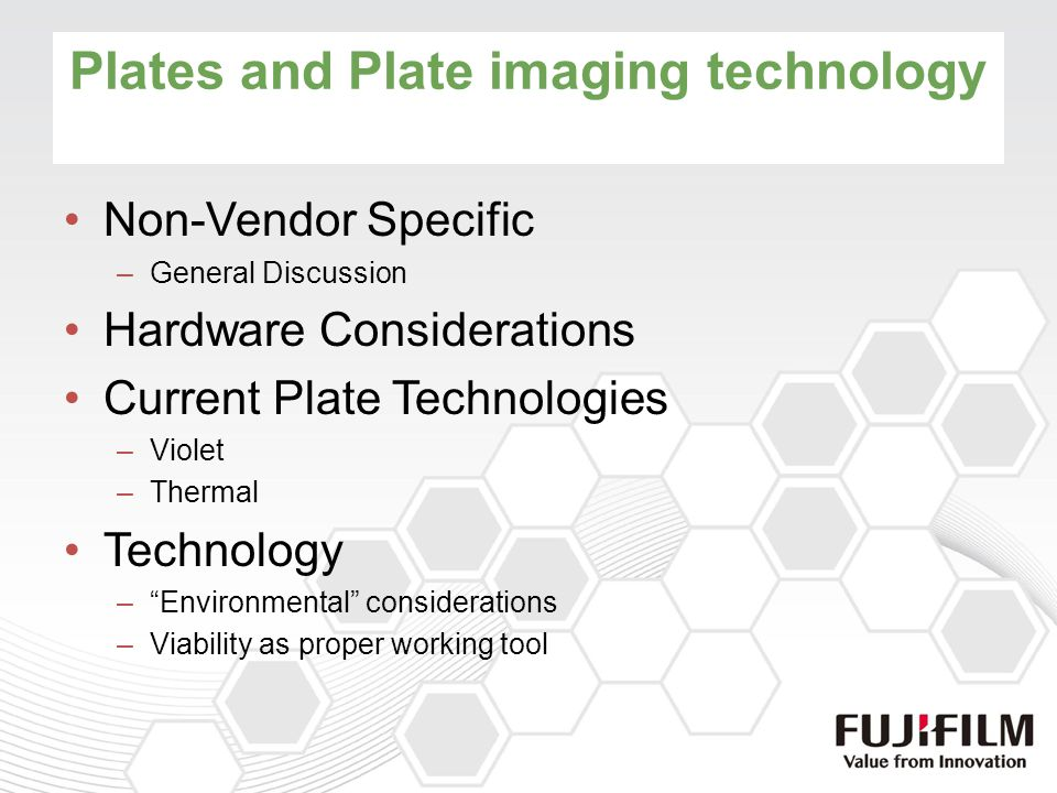 Technology Comparison Violet Lower equipment investment cost –More flexibility for redundancy High PPH to meet throughput needs Does not support true processless plate technology –Amber room lighting required –Small amount of effluent to dispose Thermal Higher equipment cost (incl.
