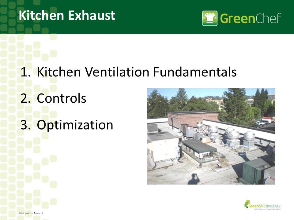 Work book 1 / Session 1 Kitchen Exhaust 1.Kitchen Ventilation Fundamentals 2.Controls 3.Optimization
