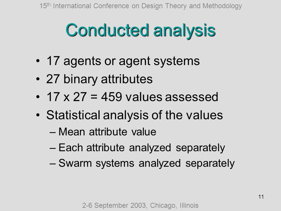 15 th International Conference on Design Theory and Methodology 2-6 September 2003, Chicago, Illinois 11 Conducted analysis 17 agents or agent systems 27 binary attributes 17 x 27 = 459 values assessed Statistical analysis of the values –Mean attribute value –Each attribute analyzed separately –Swarm systems analyzed separately