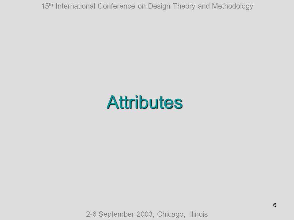 15 th International Conference on Design Theory and Methodology 2-6 September 2003, Chicago, Illinois 7 Attributes 27 binary attributes For example: Information – whether agents store information locally or in some shared memory Stability – whether agents can reconfigure in the runtime Swarm.