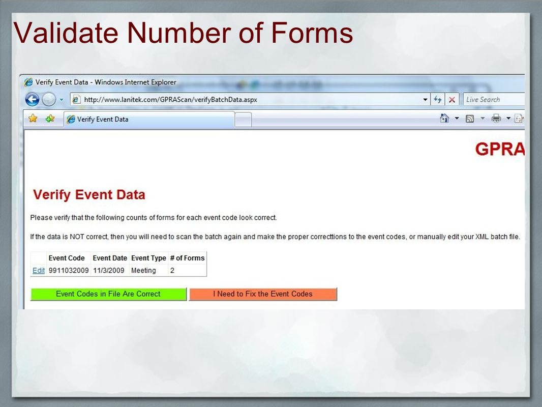 Validate Number of Forms