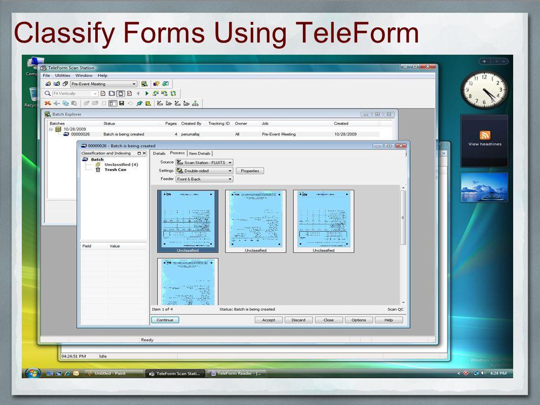 Classify Forms Using TeleForm