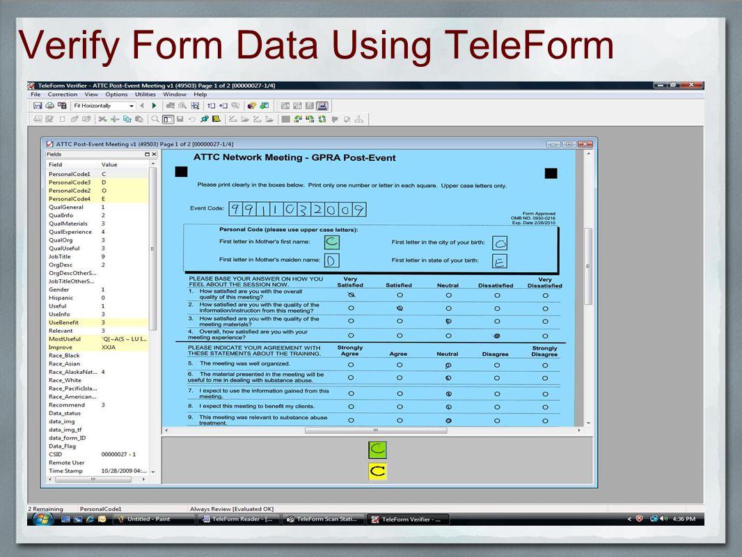 Verify Form Data Using TeleForm