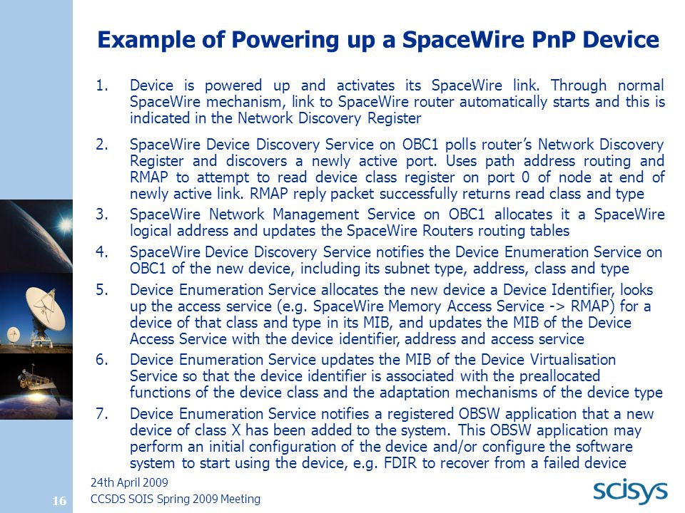CCSDS SOIS Spring 2009 Meeting 24th April 2009 16 Example of Powering up a SpaceWire PnP Device 1.Device is powered up and activates its SpaceWire link.