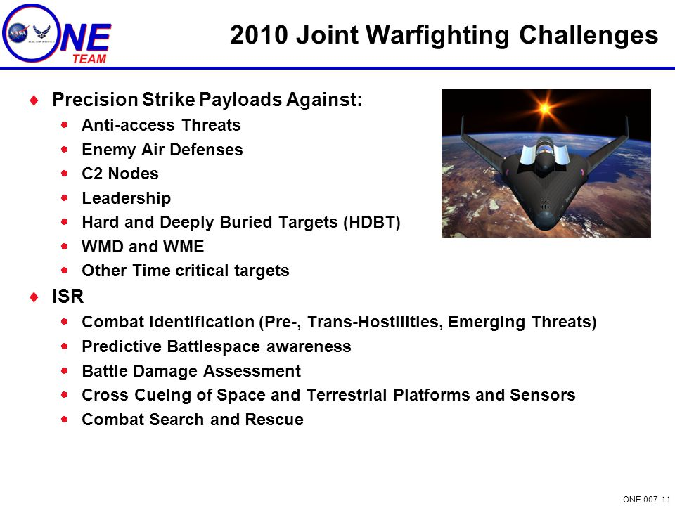 ONE.007-11 2010 Joint Warfighting Challenges  Precision Strike Payloads Against:  Anti-access Threats  Enemy Air Defenses  C2 Nodes  Leadership 